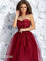 Платье- бюстье миди с пышной юбкой, 00044 (Бордовый), Размер 42 (S)