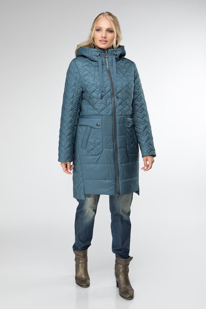 Женская куртка большого размера осенняя  50-60 морская волна