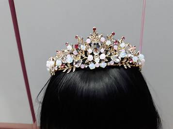 Ніжно рожева тіара корона на голову гірський кришталь
