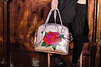 Большая каркасная женская сумка с цветочным принтом. 3 цвета!