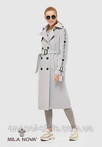 Пальто женское демисезонное итальянская шерсть цвет светло серое