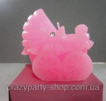 Свеча Коляска детская розовая