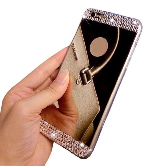 Чехол силиконовый  для IPhone 6/6S зеркальный с камнями, золотой