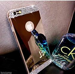 Чехол силиконовый зеркальный с камнями для IPhone 6/6S, золотой