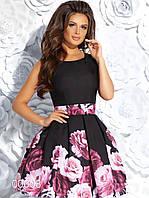 Короткое габардиновое платье из купонной ткани с крупными цветами, 00008 (Черный), Размер 42 (S)