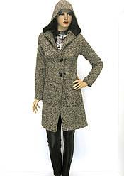 жіноче пальто букле з капюшоном