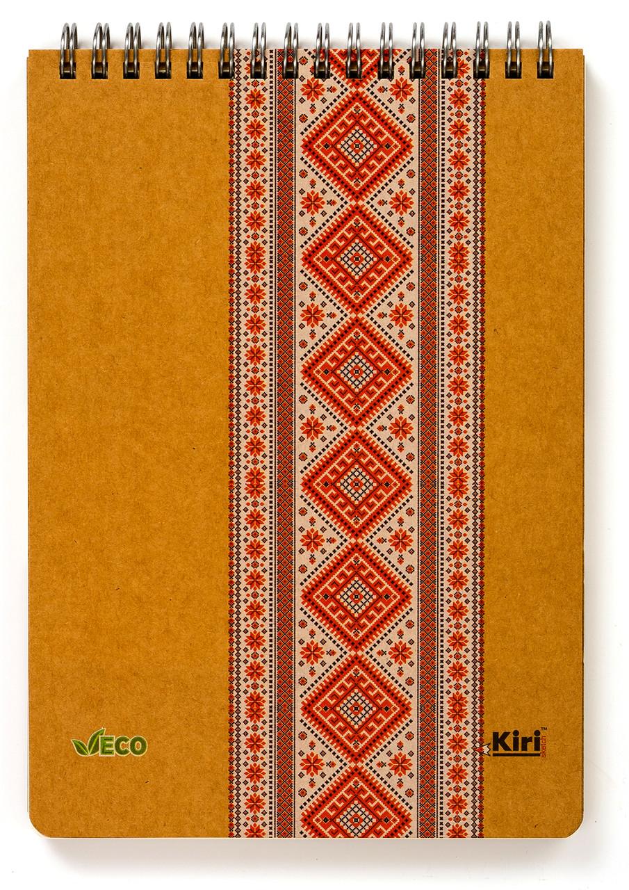 "Эко Блокнот А5 в точку ""Вышиванка красная"", крафт-картон 2 мм"