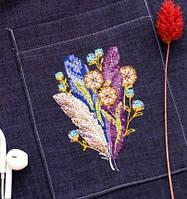 """Набір для вишивання хрестиком на одязі """"Пір'їнка""""   ,7*10см Abris art"""