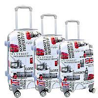 Комплект пластиковых чемоданов тройка на 4-х колесах, фото 1