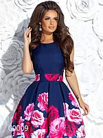 Платье короткое с пышной юбкой и крупными цветами, 00009 (Синий), Размер 44 (M)