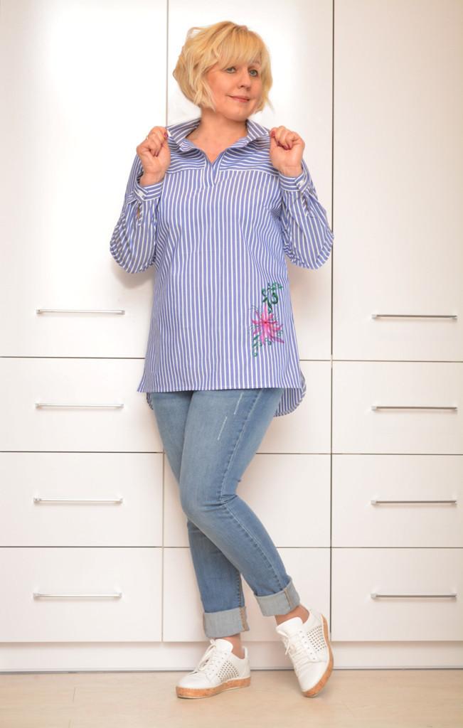 Рубашка в полоску с вышивкой - Модель Л417-2 - 58,60 размеры