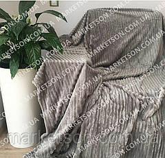 Велюровое покрывало плед Полоска Шарпей Полуторное 160х200, фото 2
