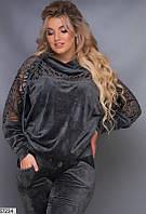 Красивый спортивный костюм женский демисезонный велюровый больших размеров 48-56, 3 цвета