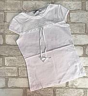 Кофта школьная подростковая для девочкис кружевом 8-14лет, белого цвета