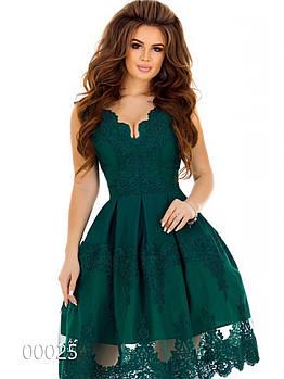Кружевное платье до колена с пышной юбкой для вечеринки, 00025 (Зеленый), Размер 44 (M)