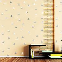 Акриловые декоративные зеркальные наклейки Треугольники, цвет серебро, 10 шт., размер 2х2см.