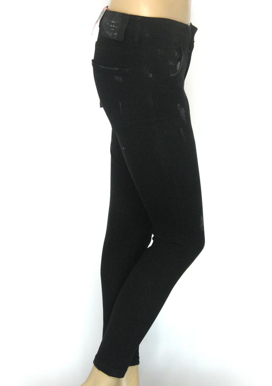 Жіночі чорні джинси бойфренд Raw Jeans