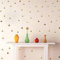 Акриловые декоративные зеркальные наклейки Треугольники, цвет золото, 10 шт., размер 2х2см.