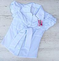 Р.128-140 Детская белая блузка.  Хлопок., фото 1
