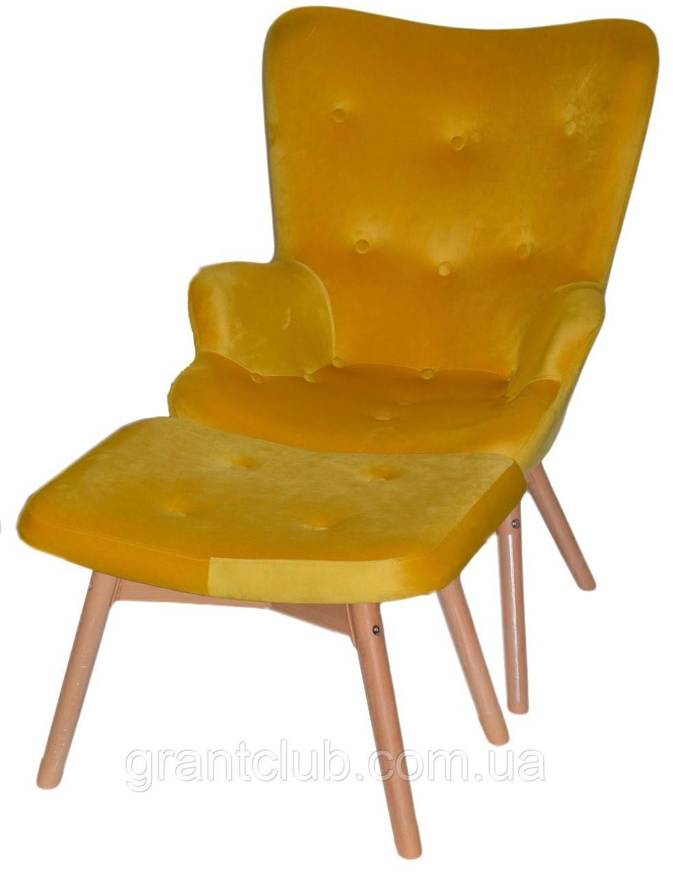 Кресло Флорино с пуфом, велюр желтый СДМ группа