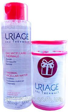 Набор (Мицеллярная вода для чувствительной кожи/косметичка) Uriage (Water/250ml + Bag)