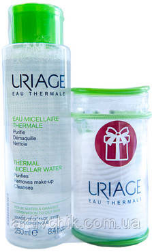 Набор (Мицеллярная вода для комбинированной и жирной кожи/косметичка) Uriage (Water/250ml + Bag)