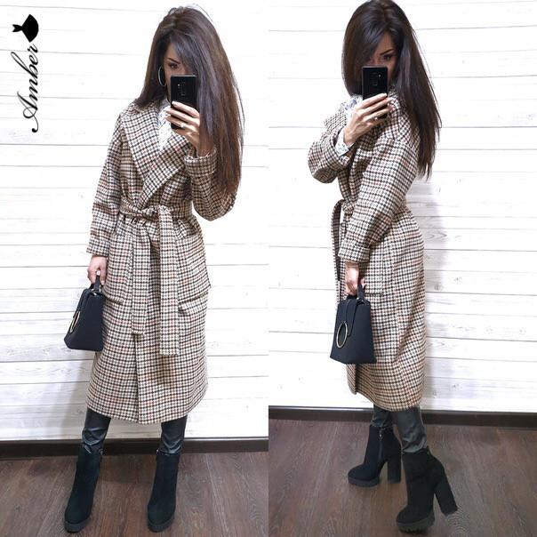 Кашемировое женское пальто в клетку ниже колена под пояс 802181