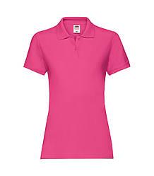 Женская футболка поло хлопок премиум малиновая 030-57