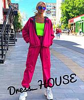 Женский спортивный костюм из неоновой плащевки свободный 505687