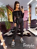 Женский брючный костюм с брюками карго и топом на молнии с ремешками 6610105E