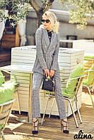 Классический женский костюм брючный в клетку с пиджаком двубортным 3810119, фото 1