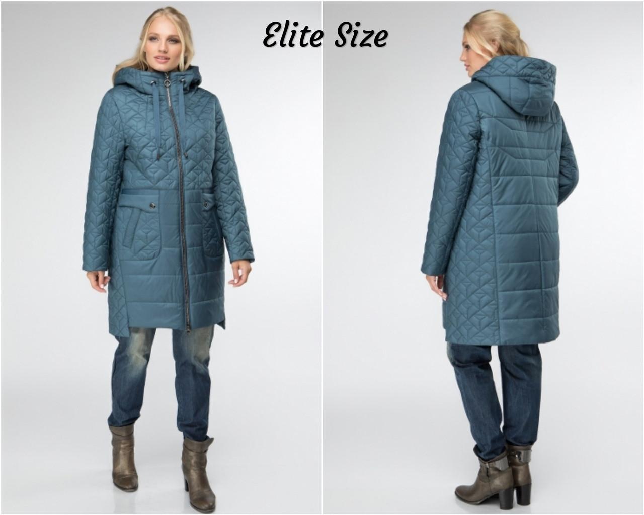 Женская демисезонная куртка на молнии в больших размерах из стеганной плащевки 615104