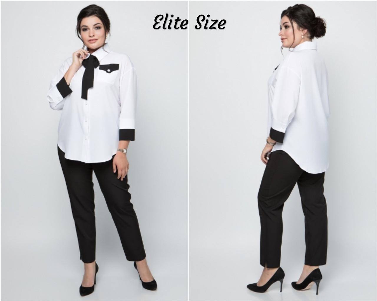 Женская белая классическая рубашка в больших размерах 615106
