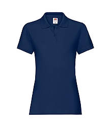 Женская футболка поло хлопок премиум темно-синяя 030-32