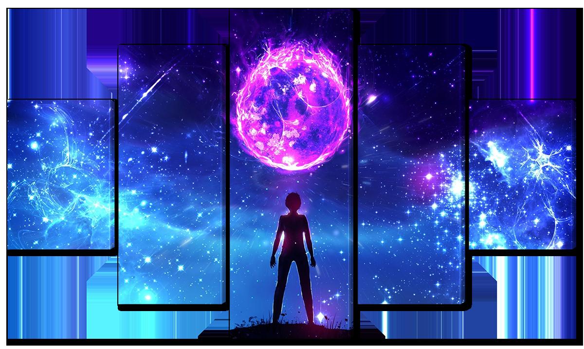 Модульная картина Interno Эко кожа Космос в фэнтези  142х80см (A1134L)