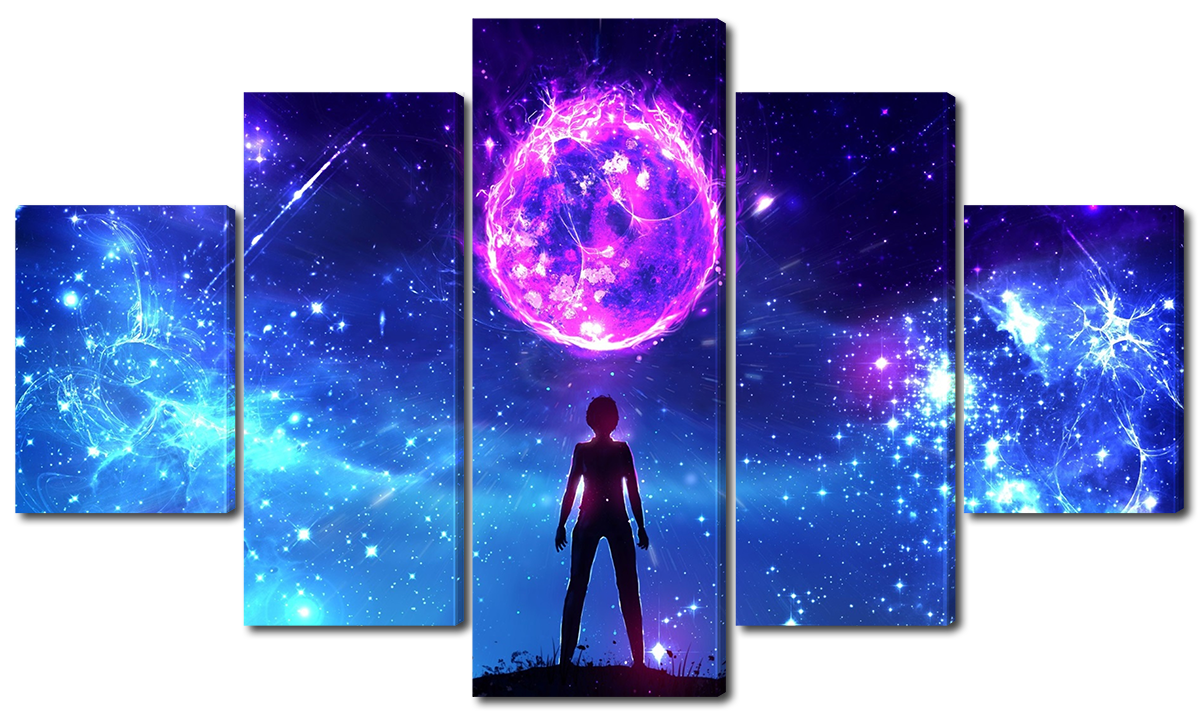 Модульная картина Interno Холст Космос в фэнтези 123х69см (R1134M)