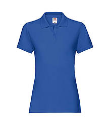 Женская футболка поло хлопок премиум синяя 030-51