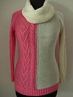 Джемпер женский или детский вязаный, двухцветный,хомут в комплекте, стильный вариант, размер 42-48, код 2921М