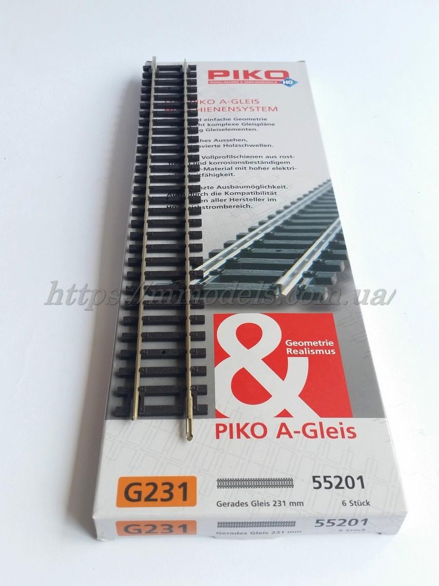 PIKO A-Gleis 55201 Прямой профильный рельс G239 длиной 230,93 мм 1:87