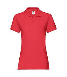 Женская футболка поло хлопок премиум красная 030-40