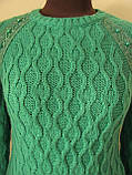 Джемпер женский вязаный, украшен кружевом на плечах, теплый, мягкая пряжа, размер 42-48, код 2434М, фото 3