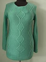 Джемпер женский удлиненный вязаный, классический, тонкая вязка, можно для весны размер 42-48, код 2916М