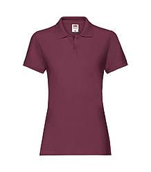 Женская футболка поло хлопок премиум бордовая 030-41