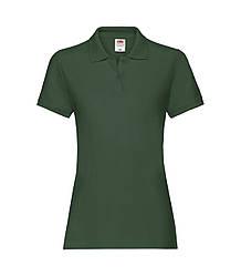 Женская футболка поло хлопок премиум темно-зеленая 030-38