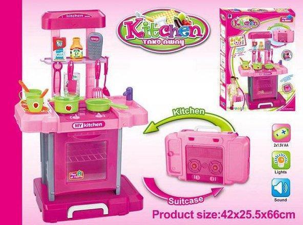 Игровой набор Кухня в чемодане 661-60, ВЫСОТА 66см, СВЕТ, МУЗЫКА