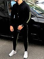 Спортивный костюм мужской с лампасами черный весенний осенний | Худи + штаны ТОП качества