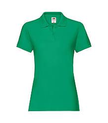 Женская футболка поло хлопок премиум зеленая 030-47