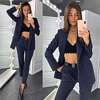 Костюм женский стильный пиджак в полоску на подкладе и брюки Dld1710, фото 1