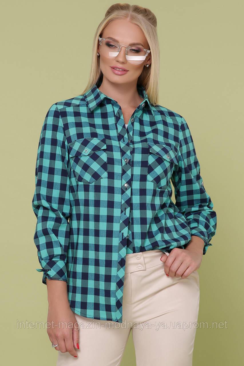 """Рубашка в клетку """"Пальмира-Б д\р""""  XL; XXL; XXXL мята-синий"""