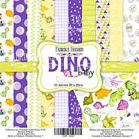 Набор бумаги для скрапбукинга Фабрика декору Dino baby, 20х20см, фото 1